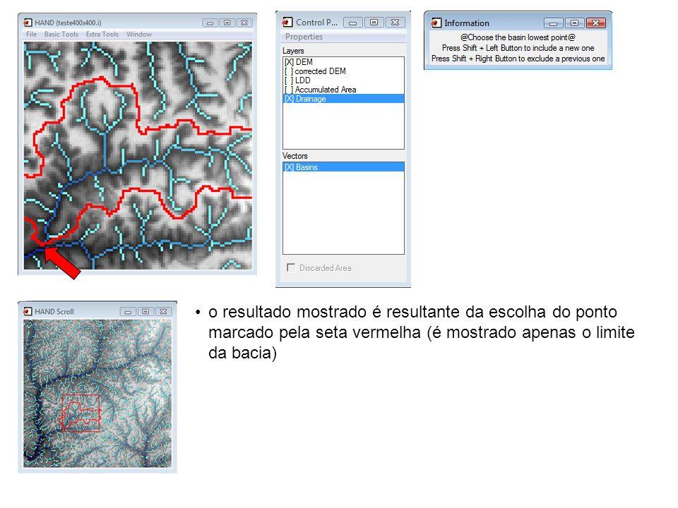 o resultado mostrado é resultante da escolha do ponto marcado pela seta vermelha (é mostrado apenas o limite da bacia)