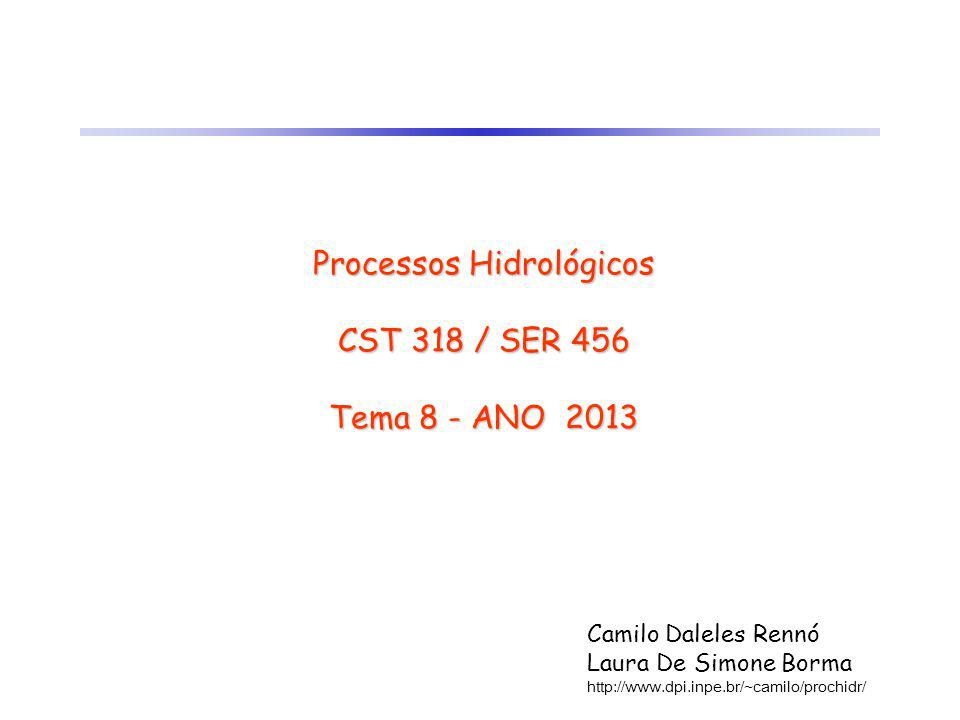 Processos Hidrológicos CST 318 / SER 456 Tema 8 - ANO 2013