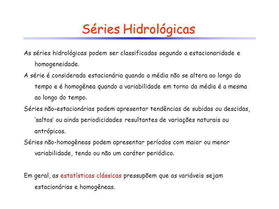 Séries Hidrológicas As séries hidrológicas podem ser classificadas segundo a estacionaridade e homogeneidade.