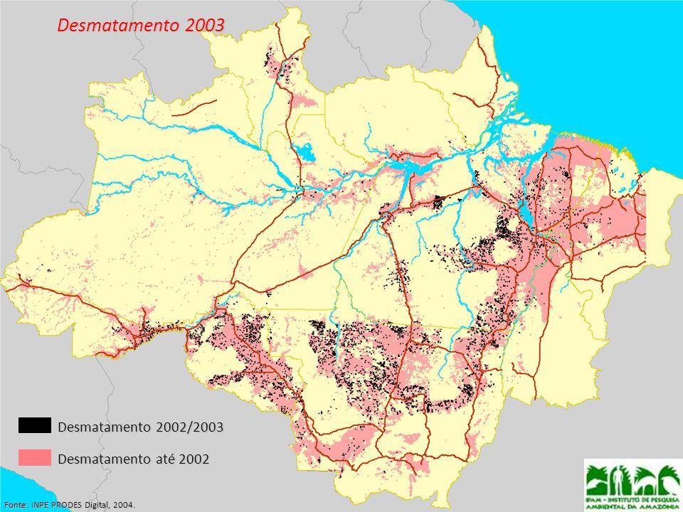 Desmatamento 2003 Desmatamento 2002/2003 Desmatamento até 2002