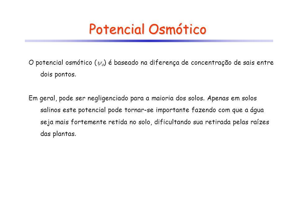 Potencial Osmótico O potencial osmótico (o) é baseado na diferença de concentração de sais entre dois pontos.