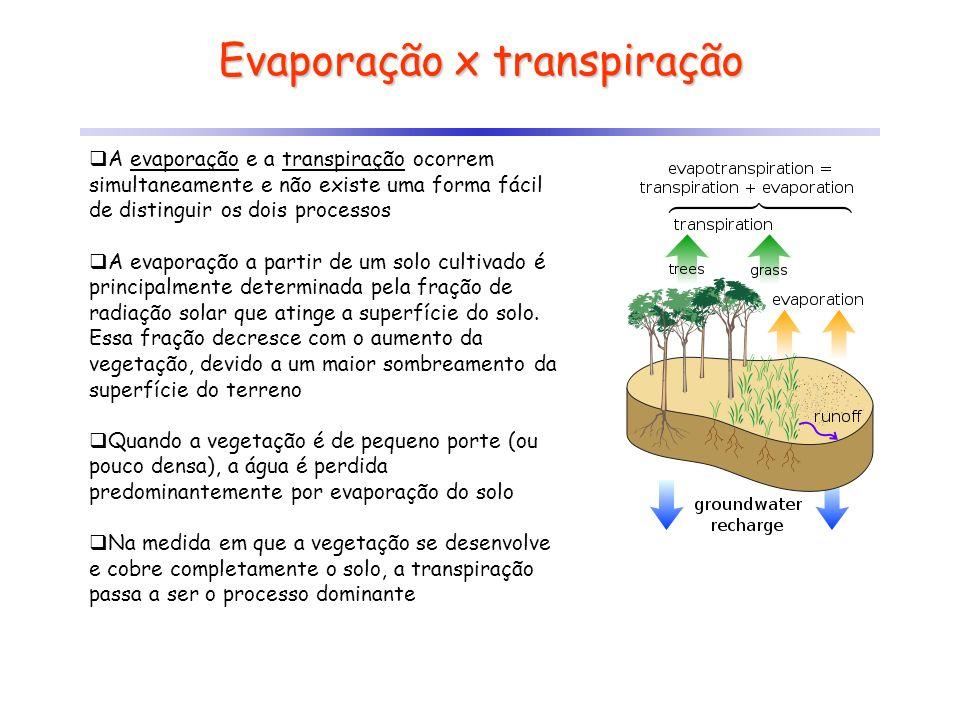 Evaporação x transpiração