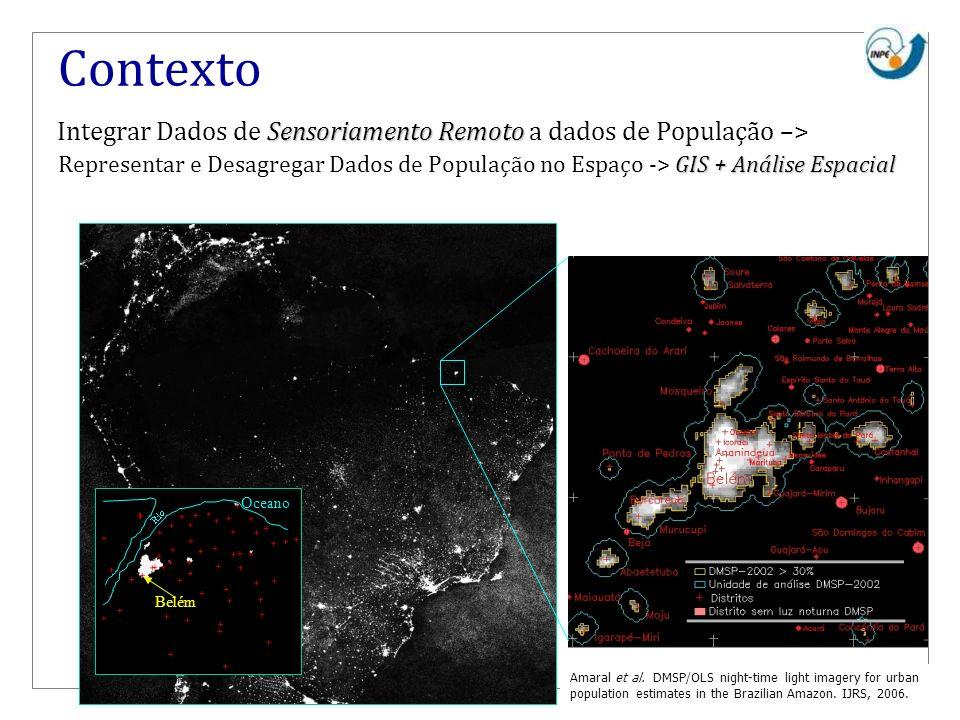 Contexto Integrar Dados de Sensoriamento Remoto a dados de População –>