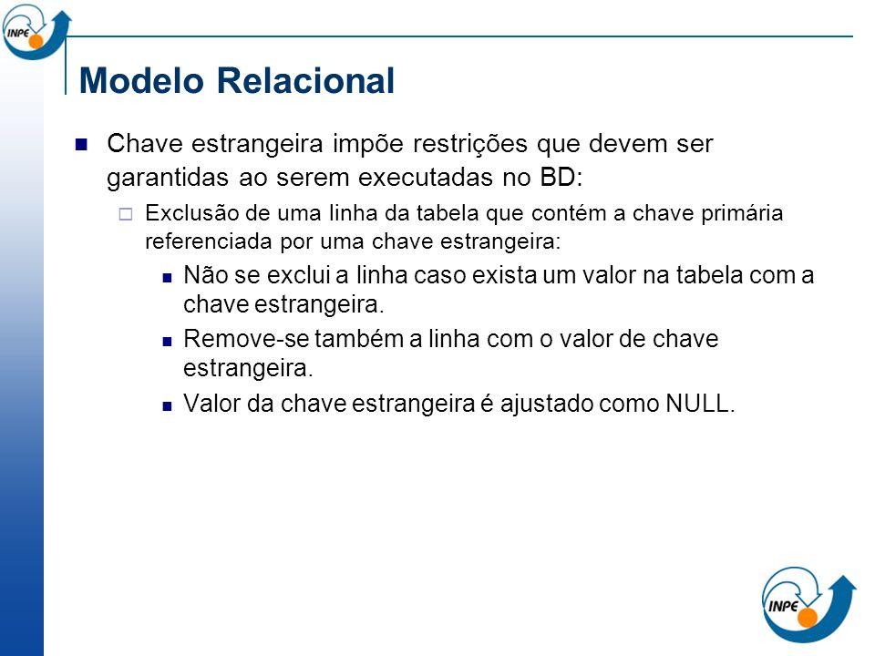 Modelo Relacional Chave estrangeira impõe restrições que devem ser garantidas ao serem executadas no BD: