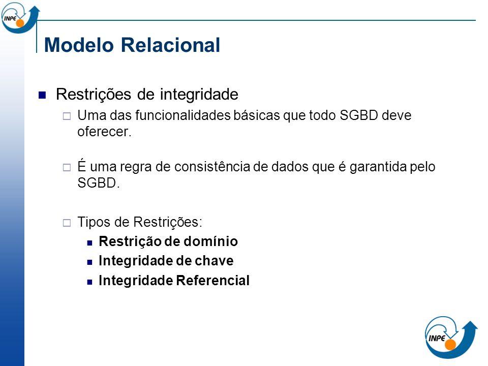 Modelo Relacional Restrições de integridade