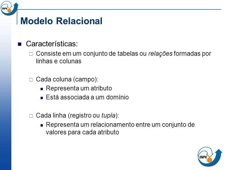 Modelo Relacional Características: