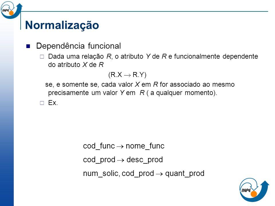 Normalização Dependência funcional cod_func  nome_func