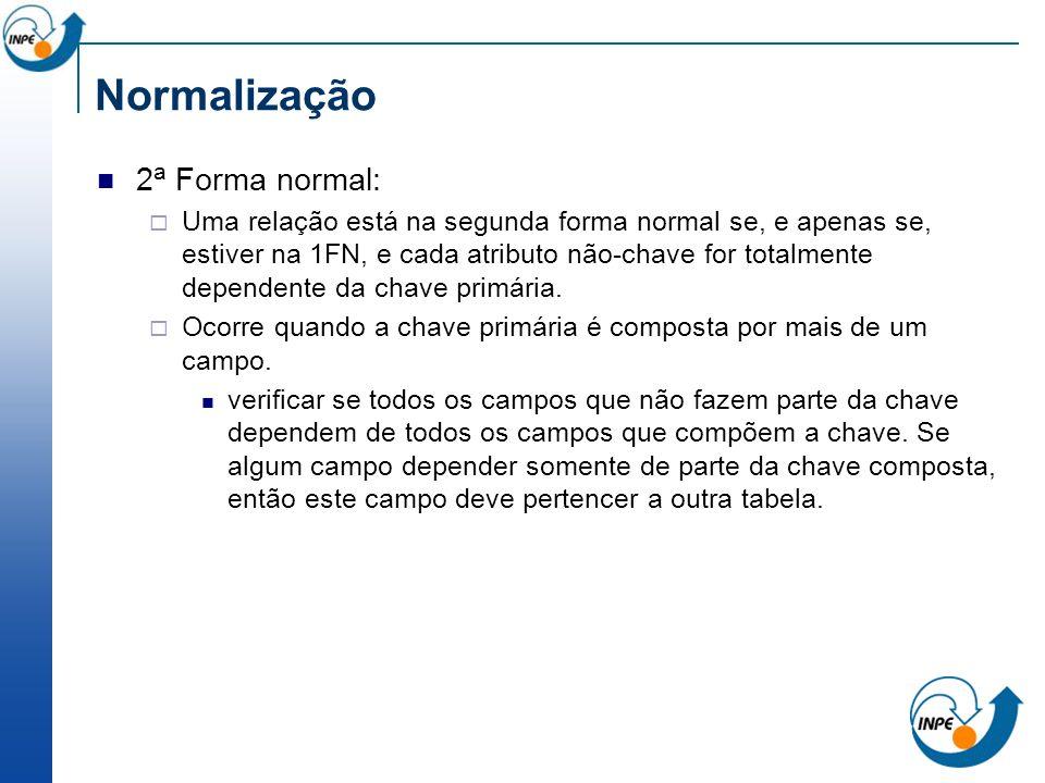 Normalização 2a Forma normal: