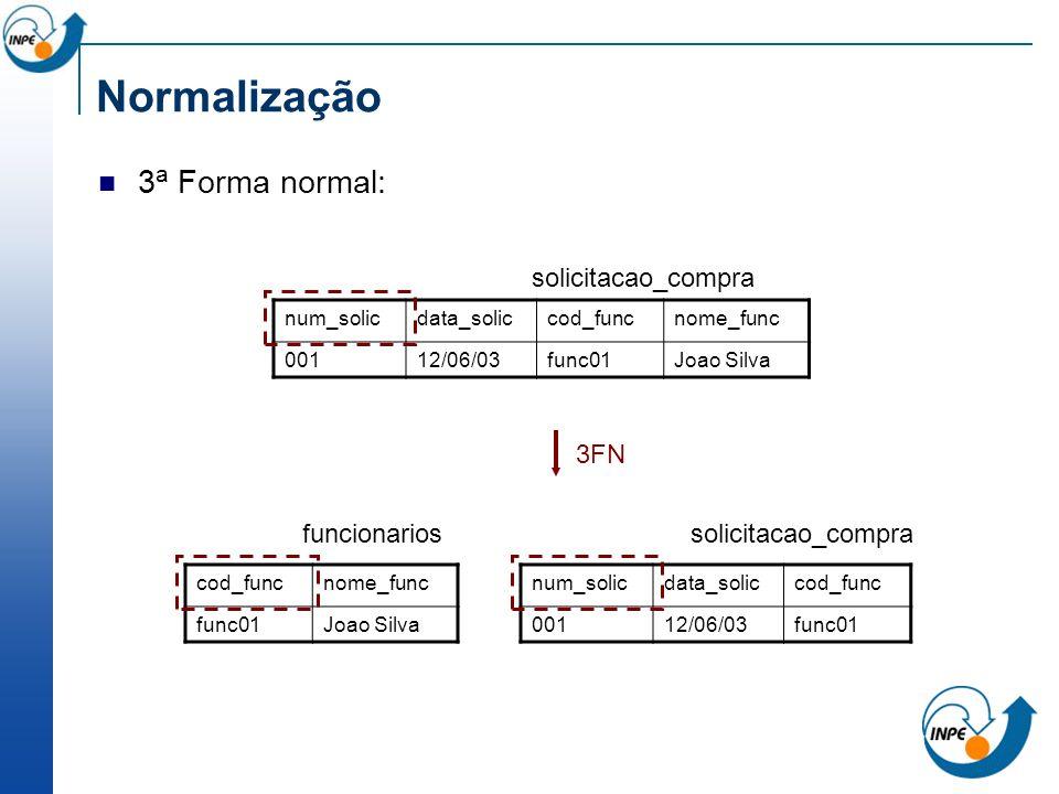 Normalização 3a Forma normal: solicitacao_compra 3FN funcionarios
