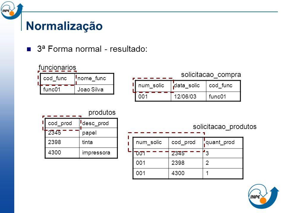 Normalização 3a Forma normal - resultado: funcionarios