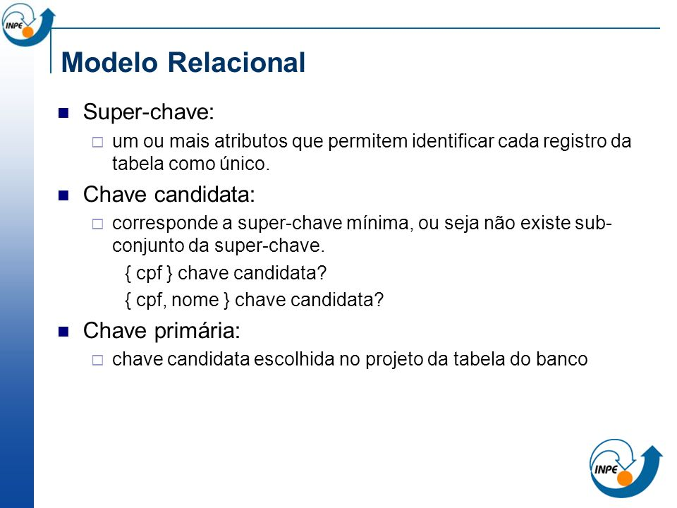 Modelo Relacional Super-chave: Chave candidata: Chave primária: