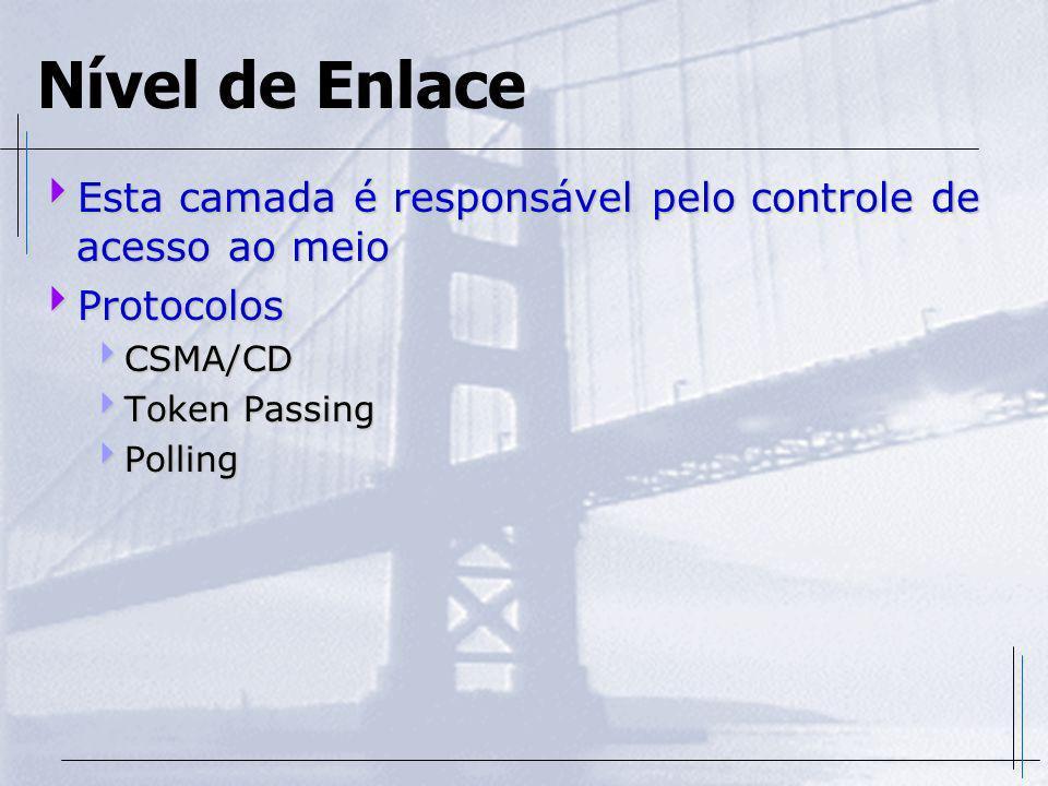 Nível de Enlace Esta camada é responsável pelo controle de acesso ao meio. Protocolos. CSMA/CD. Token Passing.