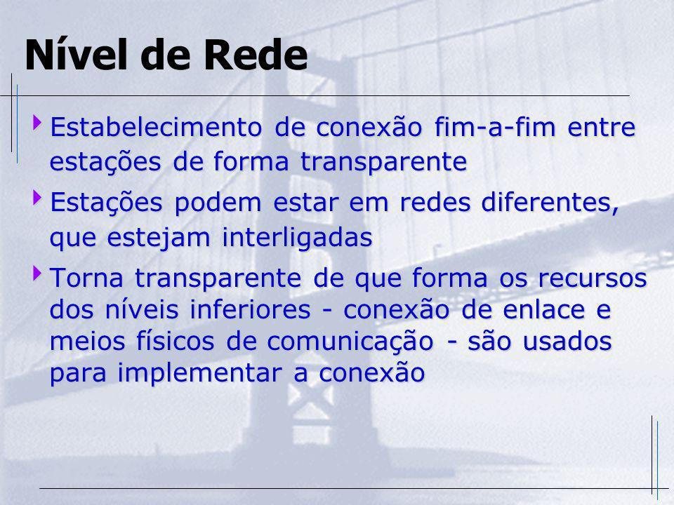 Nível de Rede Estabelecimento de conexão fim-a-fim entre estações de forma transparente.