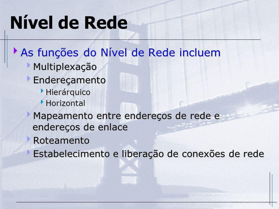 Nível de Rede As funções do Nível de Rede incluem Multiplexação