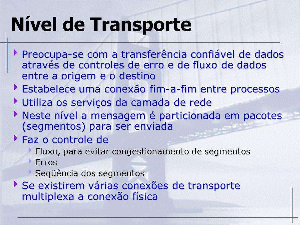 Nível de Transporte Preocupa-se com a transferência confiável de dados através de controles de erro e de fluxo de dados entre a origem e o destino.