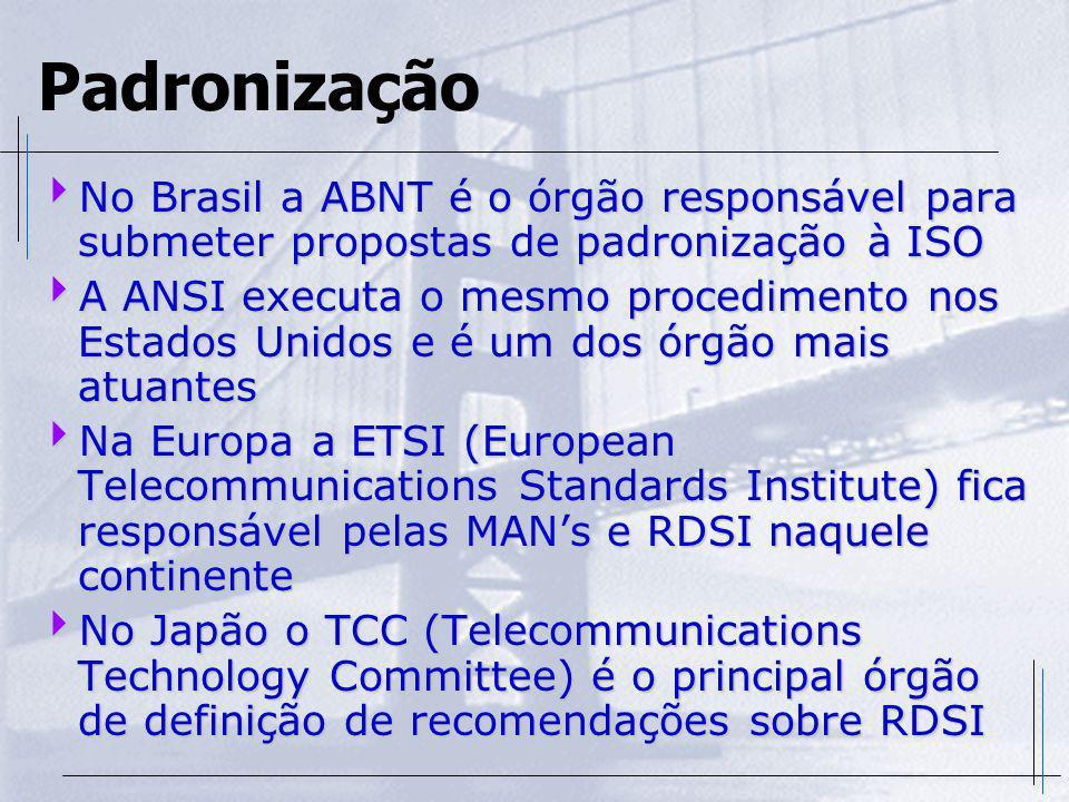 Padronização No Brasil a ABNT é o órgão responsável para submeter propostas de padronização à ISO.