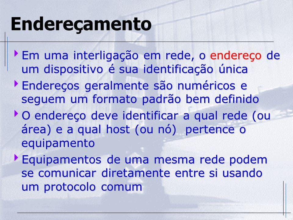 Endereçamento Em uma interligação em rede, o endereço de um dispositivo é sua identificação única.