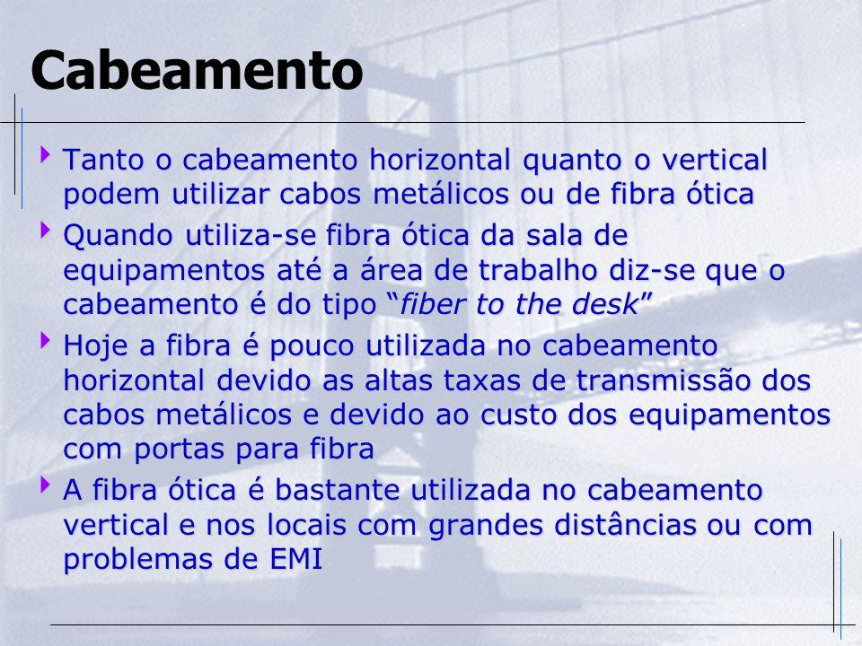 Cabeamento Tanto o cabeamento horizontal quanto o vertical podem utilizar cabos metálicos ou de fibra ótica.