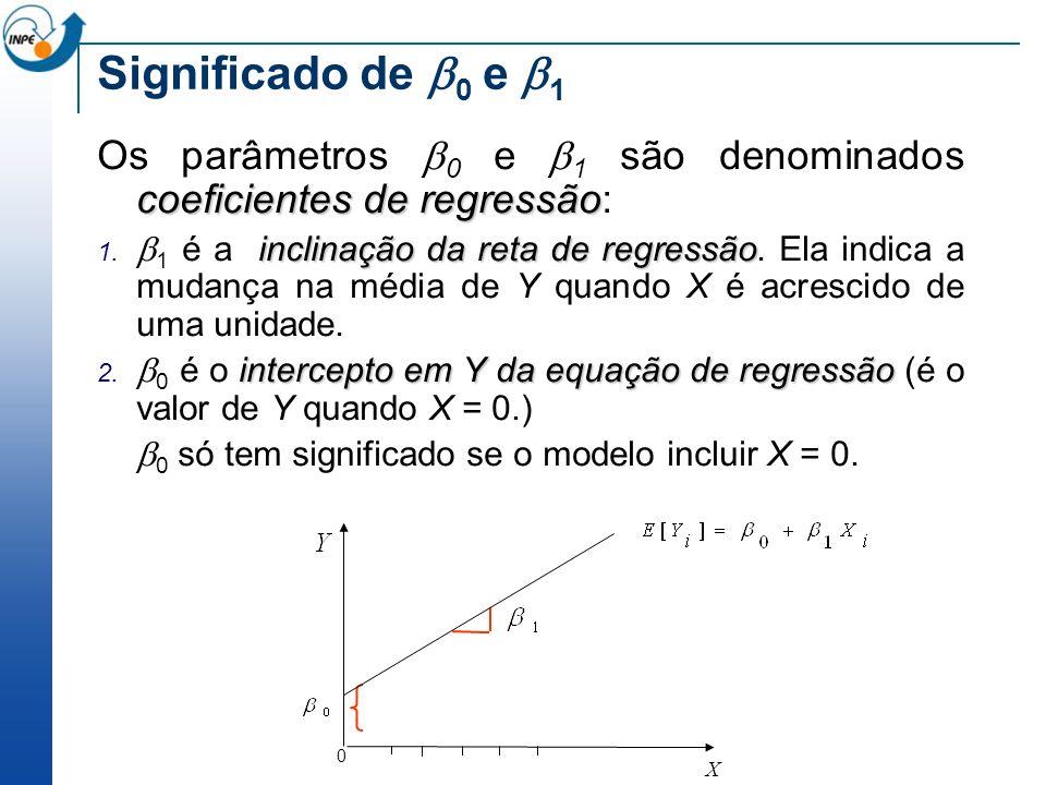 Significado de 0 e 1 Os parâmetros 0 e 1 são denominados coeficientes de regressão: