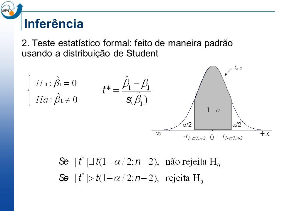 Inferência 2. Teste estatístico formal: feito de maneira padrão usando a distribuição de Student. -