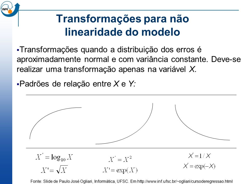 Transformações para não linearidade do modelo
