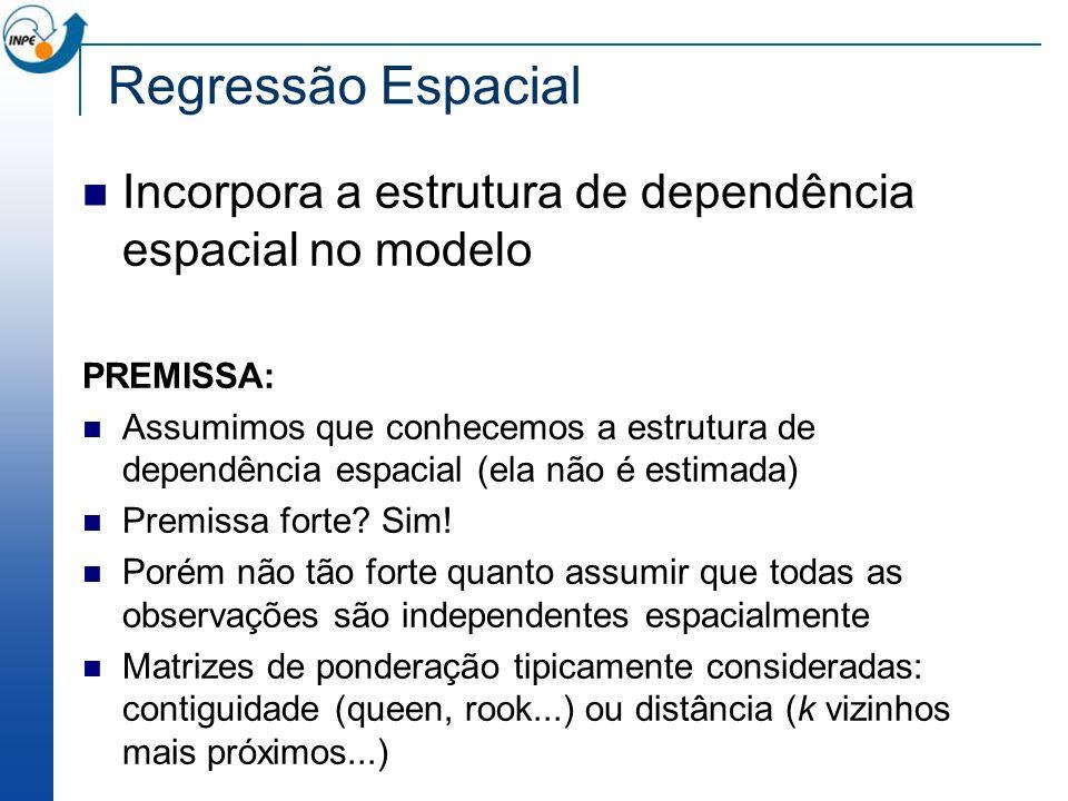 Regressão Espacial Incorpora a estrutura de dependência espacial no modelo. PREMISSA: