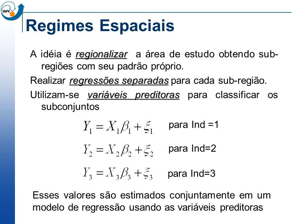 Regimes Espaciais A idéia é regionalizar a área de estudo obtendo sub-regiões com seu padrão próprio.