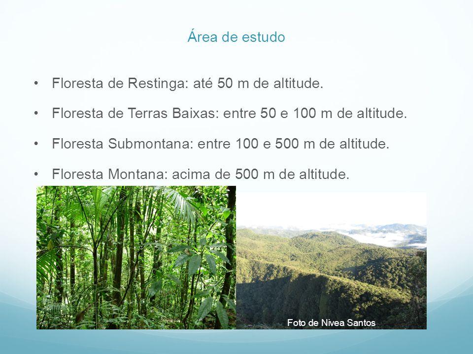Floresta de Restinga: até 50 m de altitude.