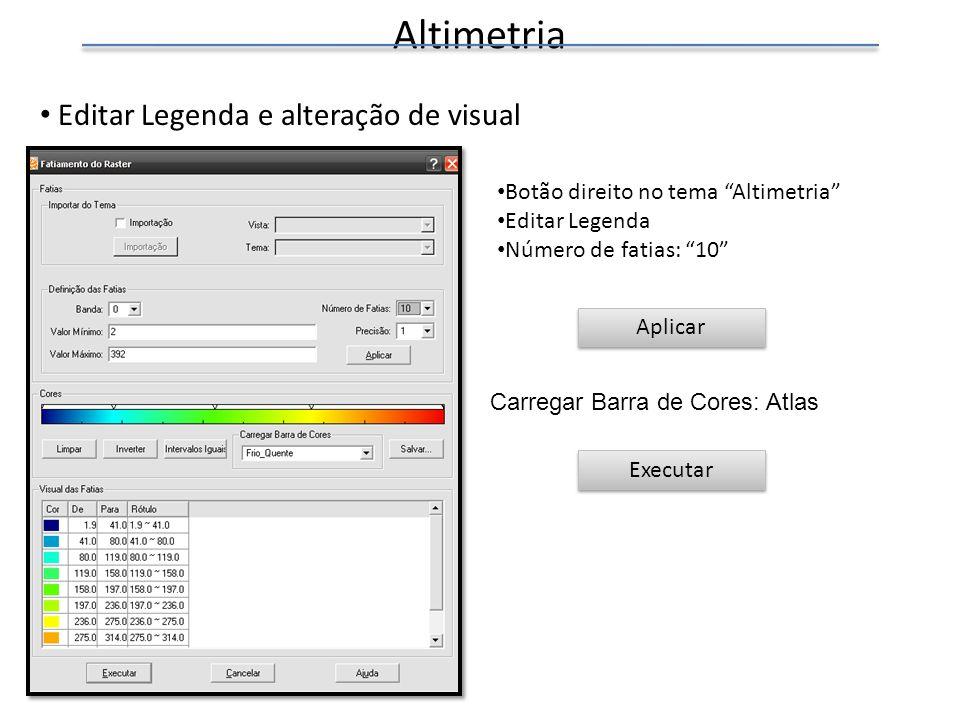 Altimetria Editar Legenda e alteração de visual
