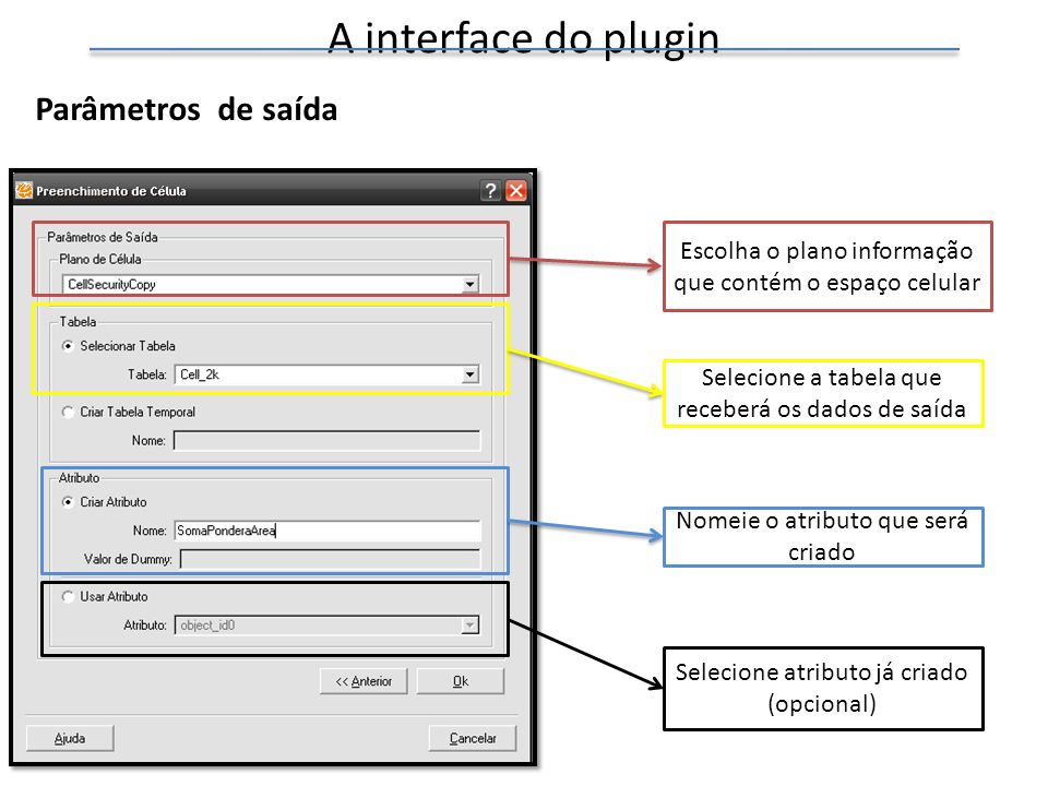 A interface do plugin Parâmetros de saída