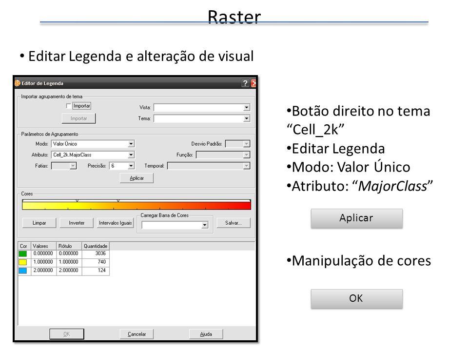 Raster Editar Legenda e alteração de visual