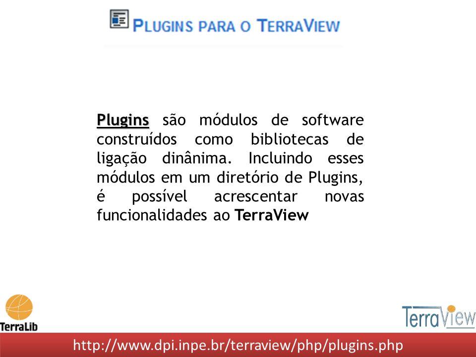 Plugins são módulos de software construídos como bibliotecas de ligação dinânima. Incluindo esses módulos em um diretório de Plugins, é possível acrescentar novas funcionalidades ao TerraView