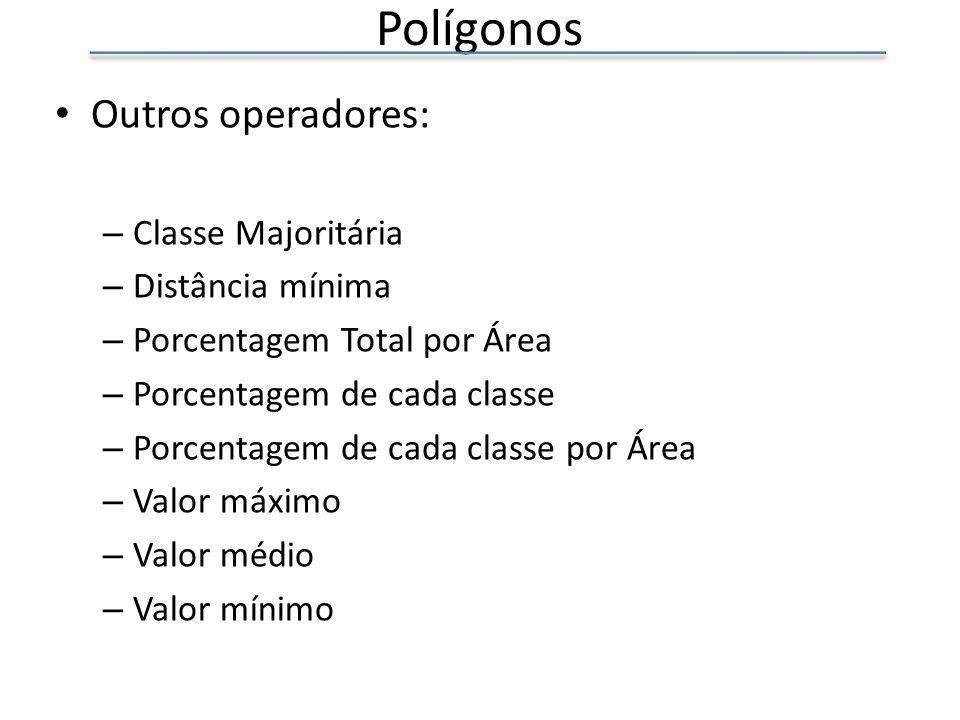 Polígonos Outros operadores: Classe Majoritária Distância mínima