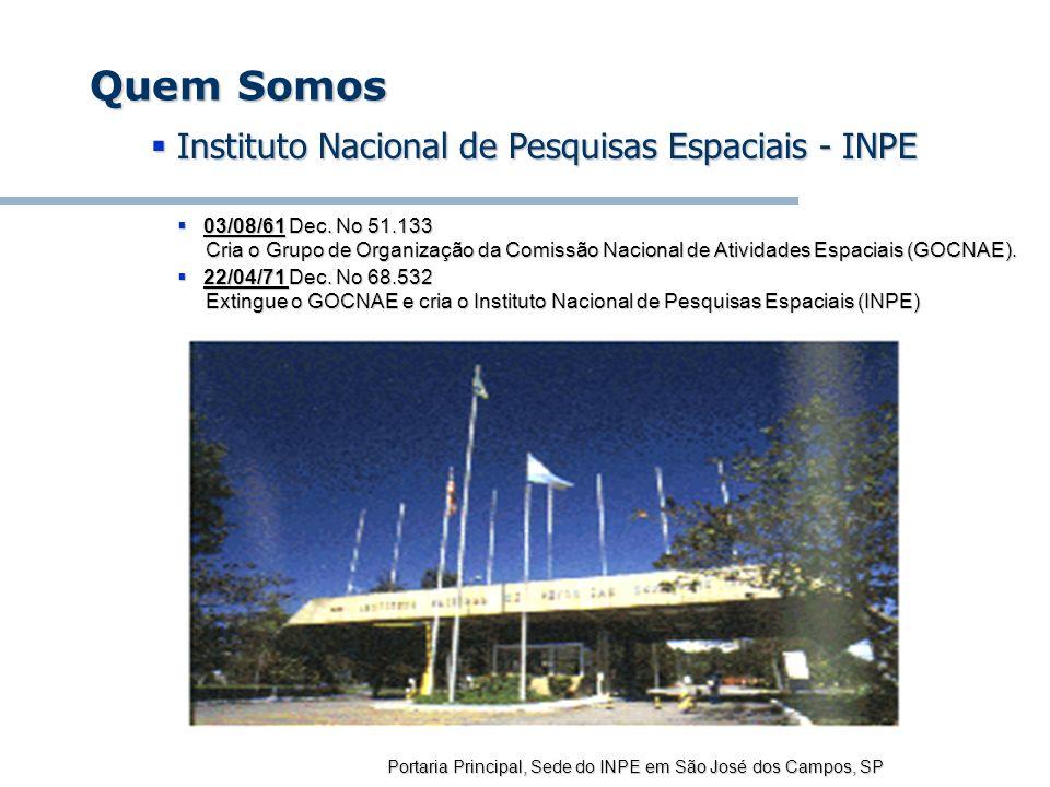 Quem Somos Instituto Nacional de Pesquisas Espaciais - INPE
