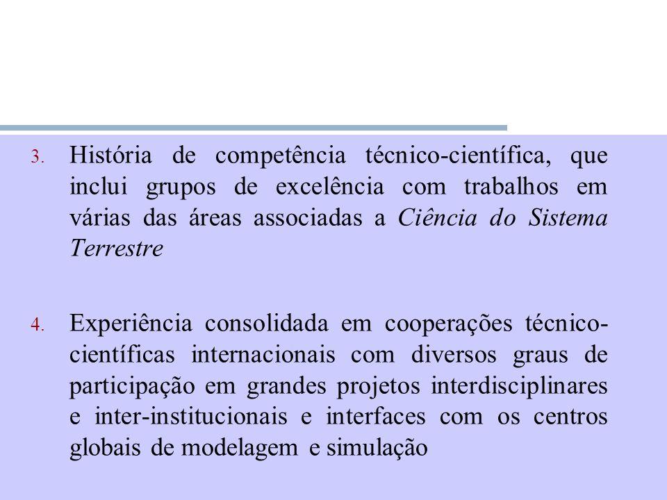História de competência técnico-científica, que inclui grupos de excelência com trabalhos em várias das áreas associadas a Ciência do Sistema Terrestre