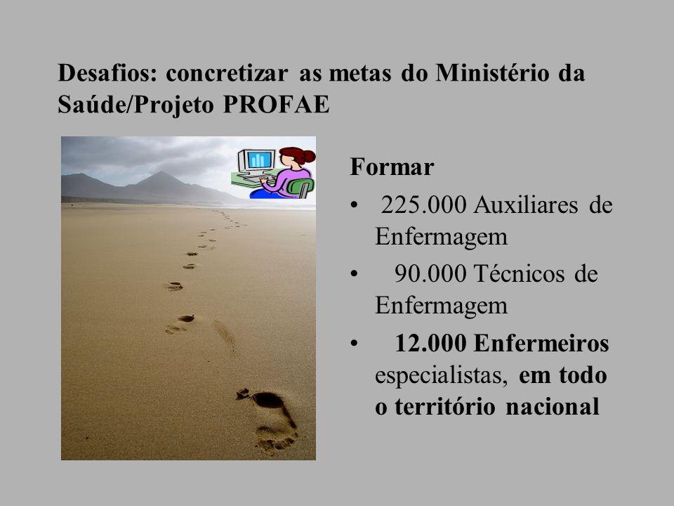 Desafios: concretizar as metas do Ministério da Saúde/Projeto PROFAE