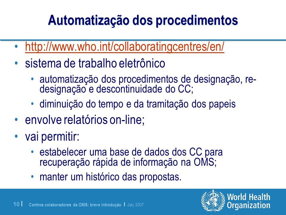 Automatização dos procedimentos
