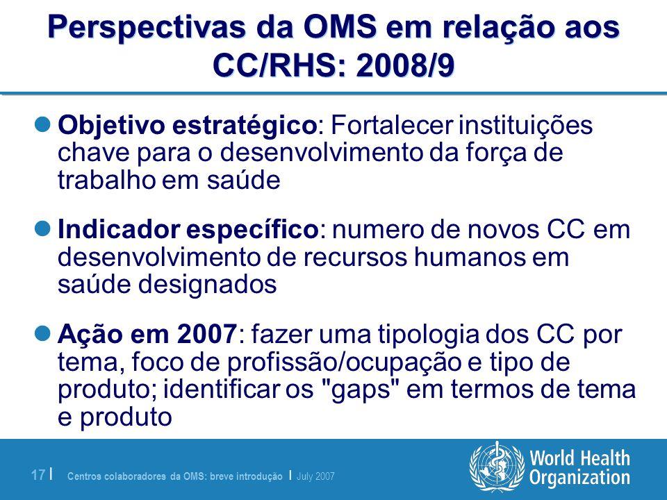Perspectivas da OMS em relação aos CC/RHS: 2008/9