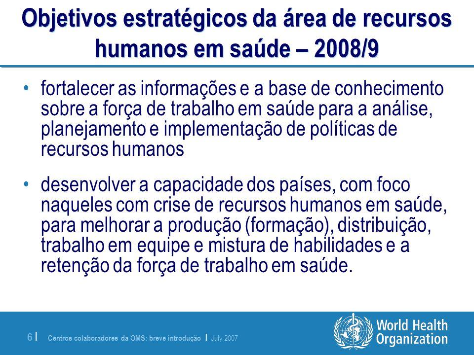 Objetivos estratégicos da área de recursos humanos em saúde – 2008/9