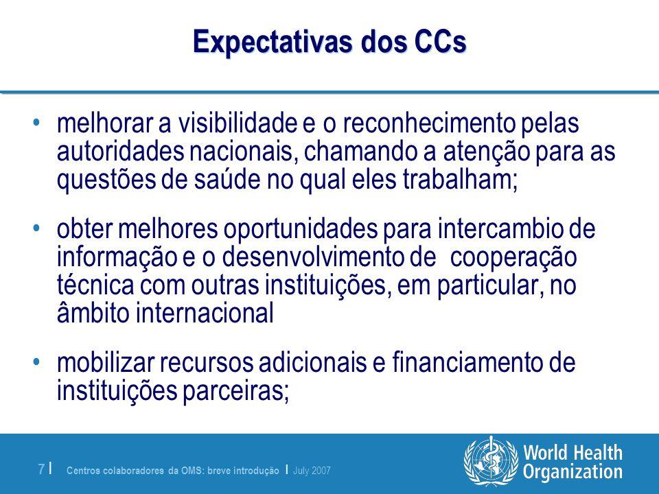 Expectativas dos CCs