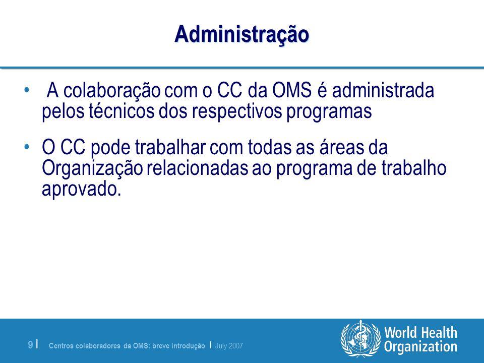 Administração A colaboração com o CC da OMS é administrada pelos técnicos dos respectivos programas.