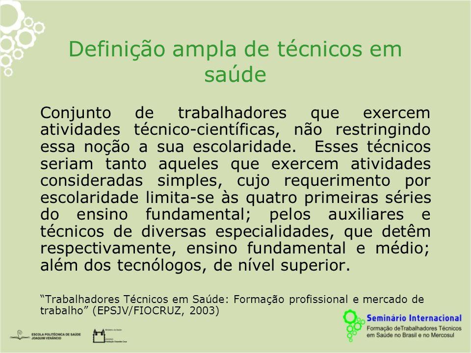 Definição ampla de técnicos em saúde