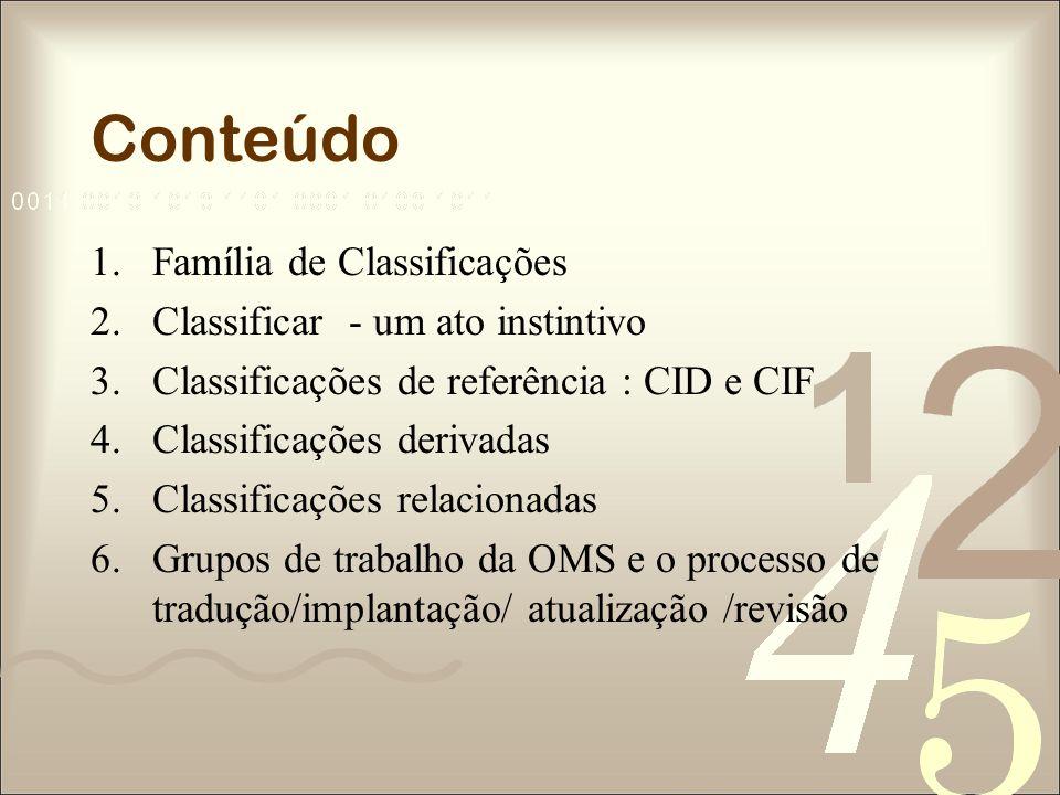 Conteúdo Família de Classificações Classificar - um ato instintivo