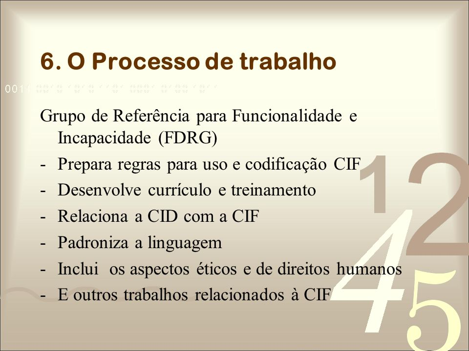 6. O Processo de trabalho Grupo de Referência para Funcionalidade e Incapacidade (FDRG) Prepara regras para uso e codificação CIF.