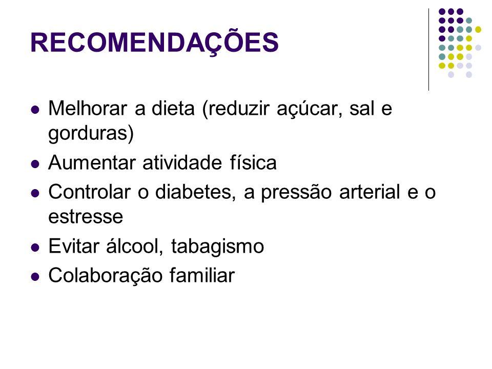 RECOMENDAÇÕES Melhorar a dieta (reduzir açúcar, sal e gorduras)