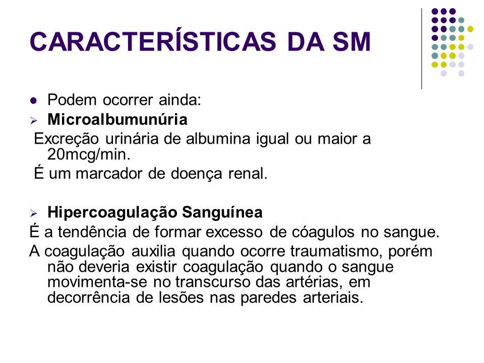 CARACTERÍSTICAS DA SM Podem ocorrer ainda: Microalbumunúria