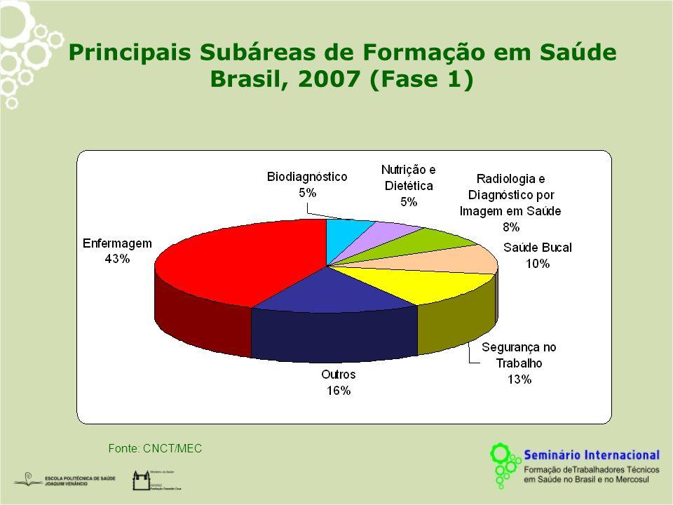 Principais Subáreas de Formação em Saúde Brasil, 2007 (Fase 1)