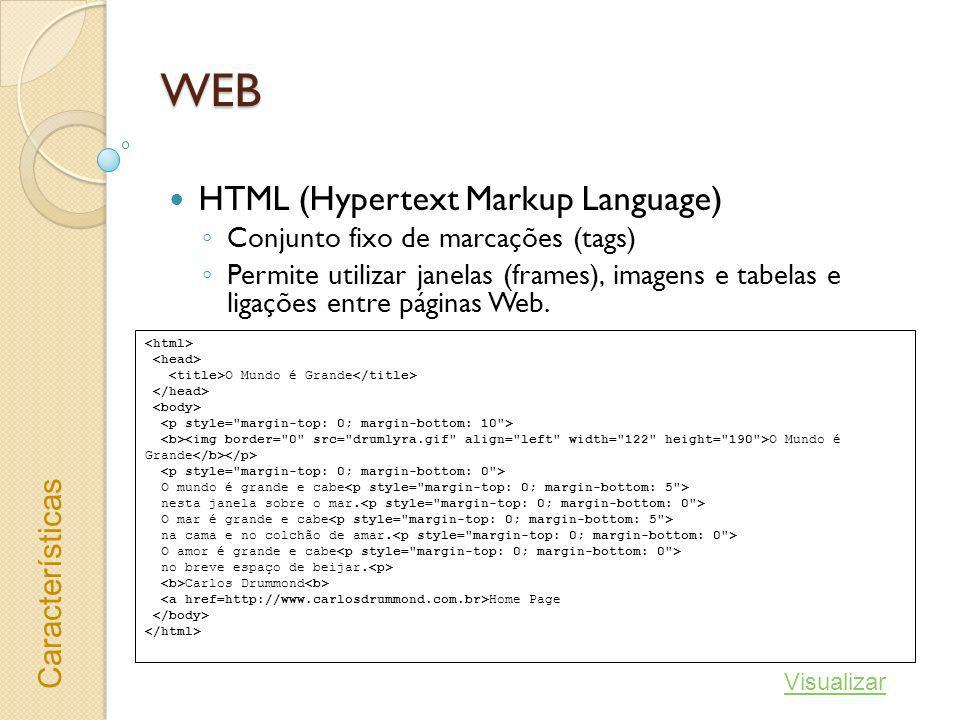 WEB HTML (Hypertext Markup Language) Características
