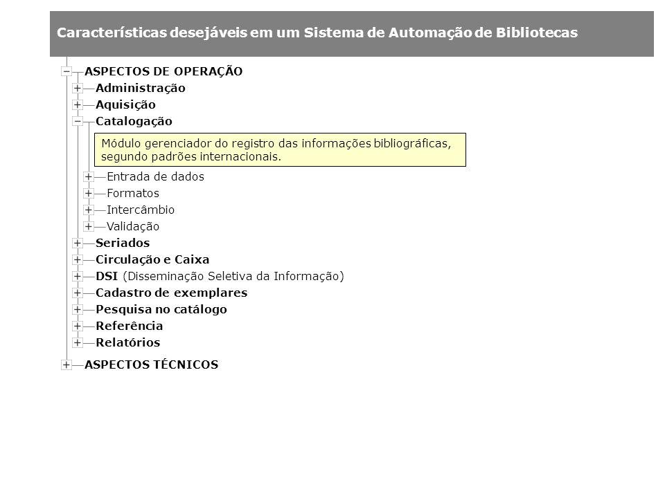 ASPECTOS DE OPERAÇÃO Administração. Aquisição. Catalogação.