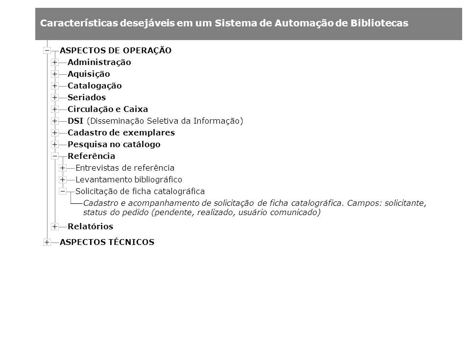 ASPECTOS DE OPERAÇÃO Administração. Aquisição. Catalogação. Seriados. Circulação e Caixa. DSI (Disseminação Seletiva da Informação)